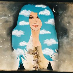 freetoedit openbook woman sky clouds