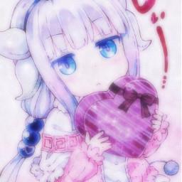 freetoedit dragonmaidkobaiashisan dragonmaid dragonmaidkanna kanna tohru anime girl cute heart kawaii animeaesthetic aesthetic pink takemyheart