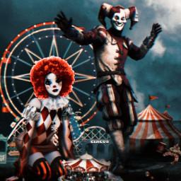 freetoedit carnival funfair circus clowns joker red wig challenge echairstylechange hairstylechange