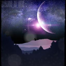 freetoedit galaxy wolfhowling nighttime