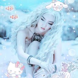 freetoedit blue soft pastel pale sea summer water woman girl female hellokitty cinamoroll cute mermaid default softgirl aesthetic sweet vacation sanrio ocean fish lovely beautiful