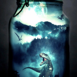 freetoedit dinosaur nature forest earth jar trapped history