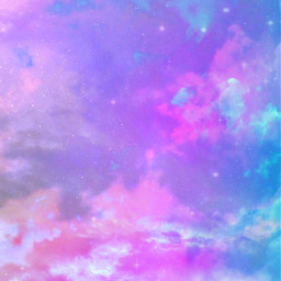 freetoedit glitter sparkle galaxy sky stars clouds colorful pastel cute girly rainbow prism dream landscape nature overlay background replay