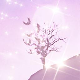 freetoedit pink tree glitter sparkle shine soft cute sweet kawaii sky dream dreamy pastel bats pastelgoth heaven background wallpaper stars magic fantasy fairycore fairytale angelic