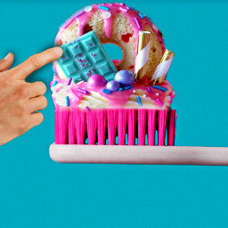 sweettooth toothbrush desserts donut cupcake candy sprinkles frosting hand yummy mashup ironicart editedbyme madewithpicsart local heypicsart freetoedit