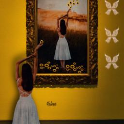 girl beautifulgirl frame colorful sunflower reaching surreal surrealism surrealart editedbyme mystyle art interesting diversty freetoedit