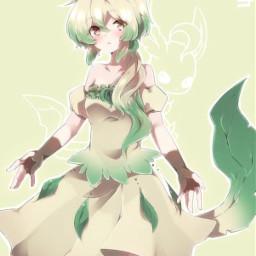freetoedit pokemon pokemongirl phyllali leafeongirl leafeon beautiful cute pretty girl onegirl feuille leaf green vert lavieestbelleaussibellequetoi