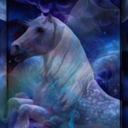 designbyjaz nightmare whitehorse horse fantasy nightsky clouds remix freetoedit