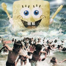 freetoedit spongebob beach running summer