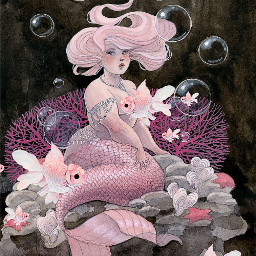 credstopinterest mermaid coral fish pink bubbles underwater ocean water sea plussizebeauty bodypositive woman girl gorgeous chubbygirl srcpinkfishies pinkfishies freetoedit