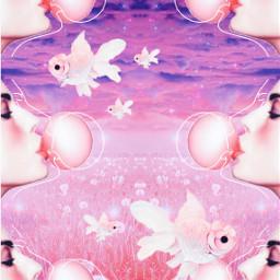 freetoedit surreal art sky abstract pink purple woman face bubblegum fields meadow dandelion glitter sparkles cloudsandsky sunrise sunset aesthetic srcpinkfishies pinkfishies
