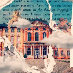 freetoedit school building cobblestone angels renissance rips cloudsandsky angel angelbaby text mueseum