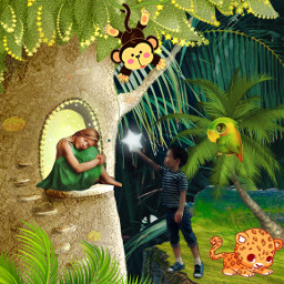 freetoedit jungle tree romeoandjuliet love cute adorable plants nature green brown parrot leopard leaf cartoon creative madewithpicsart