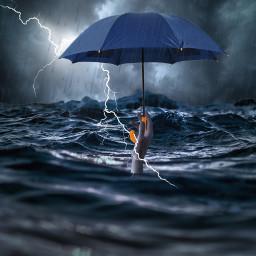 freetoedit hand hands sea water ocean rain umbrella surreal surrealart ircthereachinghand thereachinghand