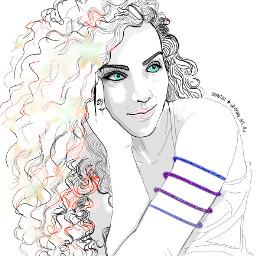outline outlinegirl beauty freetoedit colorpaint