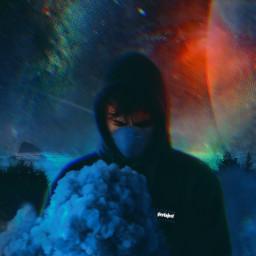 freetoedit remix ceuestrelado noite homem mascara fumaça planeta picsart picsartbrasil