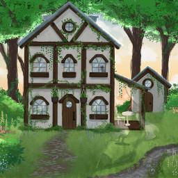 art artist house vines plant flower cat