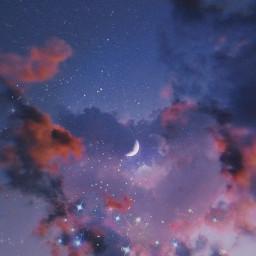 sky clouds cloud madewithpicsart moon remixit freetoedit heart aesthetic stars