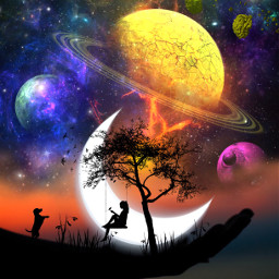 freetoedit edit editbyme silhouette love space planets