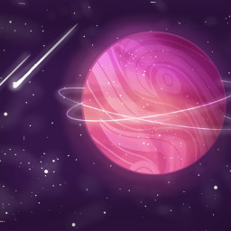 art space planet pink comets