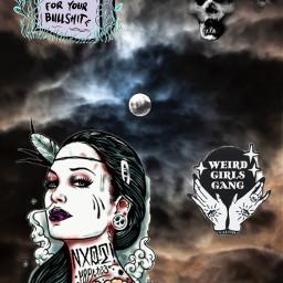 black nighttime moon girl freetoedit local