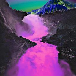 freetoedit river mountain surrealnature pinkriver