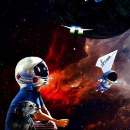 astronaut planets boy dog challenge picsartchallenge art editedbyme picsart freetoedit ircpaperplane paperplane