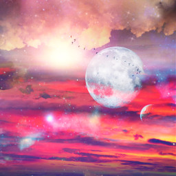 freetoedit glitter sparkle galaxy sky stars moon birds nature landscape sunset night clouds shimmer colorful aesthetic overlay background replay