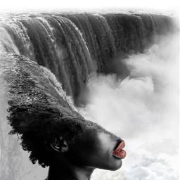 redlip bw b monocrome red lip lipstick waterfall water ocean sea woman black blackwoman beautiful gorgeous pretty amazing clouds afro freetoedit