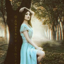 tree woman forest dream nature blur freetoedit