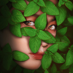 freetoedit mastershoutout artisticedit portrait leaves green camouflage myedit madewithpicsart