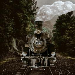 freetoedit train lokomotive clouds forrest ircgentlecloud gentlecloud