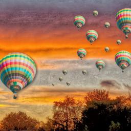 hotairballoons challengeoftheday landscape sunset freetoedit local srcflyingairballoons flyingairballoons