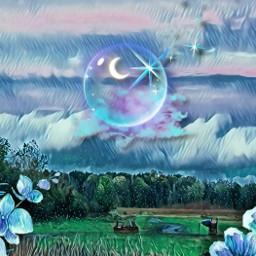 blueaesthetic landscape challengeoftheday magiceffect freetoedit local ecblueaesthetic