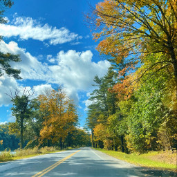 freetoedit driving fall autumn outside nature blueskywithclouds beautifulday explore road naturephotography