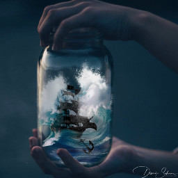 freetoedit glas storm sea ocean ship anchor hands storminaglass blue ircanemptyjar anemptyjar
