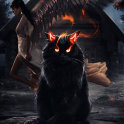 freetoedit horns neon cat devil angel moon sky night challenge srctryon tryon