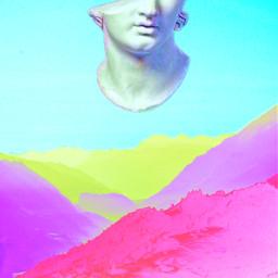 vaporwave vaporwaveaesthetic mountains neon colorfulscenes freetoedit fuschiablue statue vibrantcolors