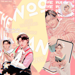 freetoedit san wooyoung choisan jungwooyoung woosan atiny red orange cute yellow graphic joongwrld kpop