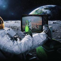 freetoedit space astronaut tv oldtv earth stars moon planets beer challenge irconretrotv onretrotv