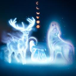 madewithpicsart picsart papicks glow girl deer snow sky night wolf freetoedit local