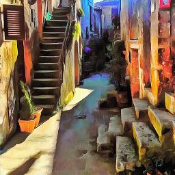 borgo village street valley landscape artistic picture remix freetoedit