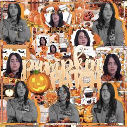 freetoedit billieeilish billie eilish complex edit complexedit halloween orange halloweenedit cloudydaisies pumkinpatch interwiew black white talent ily