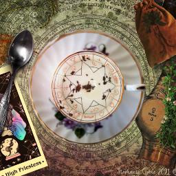 freetoedit whatdoesyourfuturehold fortuneteller tealeaves herbalism paganism highpriestess tinkertailorartist mypieceofpeace picsart ircautumntea autumntea whatsinyourcup