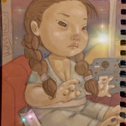 pudding girl star cartoon space drawing freetoedit local