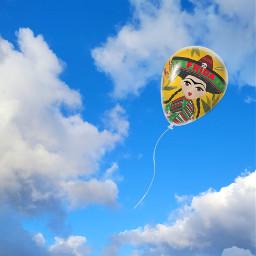 freetoedit simple fridakahlo balloon edit unibrow_queen mexican artist sky