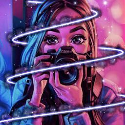 freetoedit camera girl pink blue purple neon sparkle aesthetic whatch black lovely beautifull local srcpurplespiral purplespiral