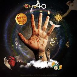 digitalart digitalcollage vintagestyle vintageaesthetic palmistry palmistryhand fortunetelling astrology symbolism tinkertailorartist mypieceofpeace freetoedit local