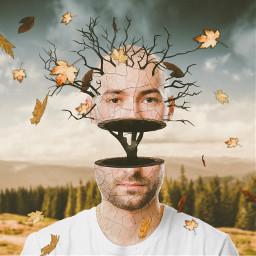 freetoedit man tree nature surreal surrealart surrealism leaves