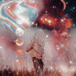 freetoedit galaxy girl woman feild sky galaxysky moon sparkle sparkles glitter aesthetic aestheticedit galaxyedit galaxyaesthetic stars